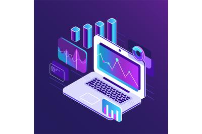 Finance market analysis isometric 3d charts on business laptop. Analyt