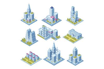 Isometric city architecture, cityscape building, landscape garden and