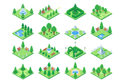 Isometric green park or garden trees. Fountain and bushes, benches and