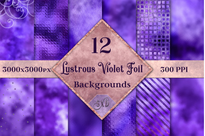 Lustrous Violet Foil Backgrounds - 12 Image Textures Set