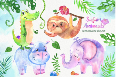 "African animals clip art ""Safari animals"". Watercolor jungle wild."