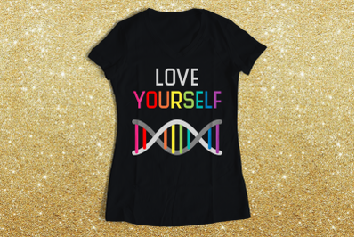 LGBT Love Yourself Rainbow DNA | SVG | PNG | DXF