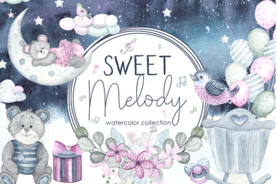 Sweet melody. Watercolor collection