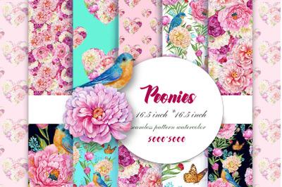 Peonies, Seamless Patterns,