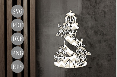 Floral Lighthouse Papercut Template, Nautical Summer SVG PDF
