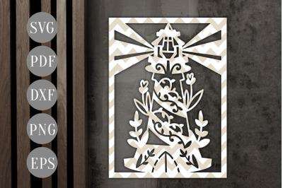 Lighthouse Frame Papercut Template, Nautical Summer SVG PDF