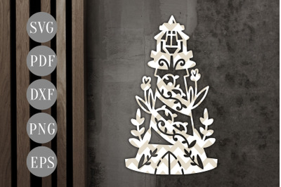 Floral Lighthouse 2 Papercut Template, Nautical Summer SVG, PDF