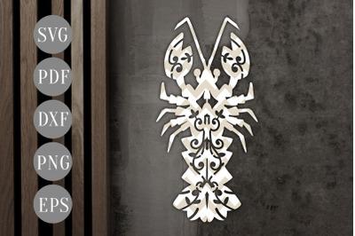 Lobster Papercut Template, Sea Creature, Summer SVG, PDF DXF
