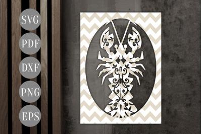 Lobster Frame Papercut Template, Sea Creature, Summer SVG, PDF