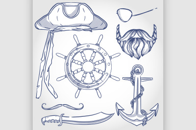 Sketch pirate attributes icon