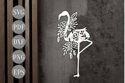 Flamingo Papercut Template, Summer Animal Cut File, SVG, PDF