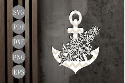 Floral Anchor 2 Papercut Template, Nautical Clip Art SVG, DXF