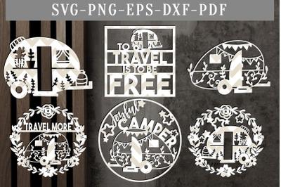 Bundle Of 6 Camper Papercut Templates, Summer SVG, PDF, DXF