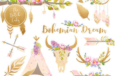 Bohemian Dream Clipart Set