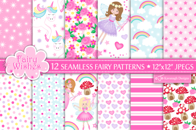 Fairy digital paper, Fairy patterns, Unicorns -P10