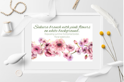 Sakura branch. Seamless background