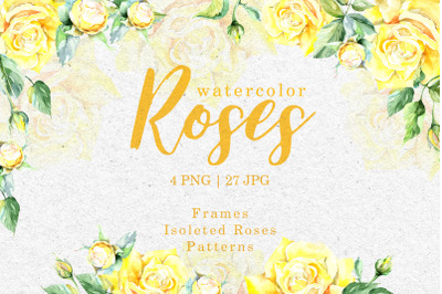Yellow Roses Watercolor Clipart, Digital Flowers, Clipart Hand Painted