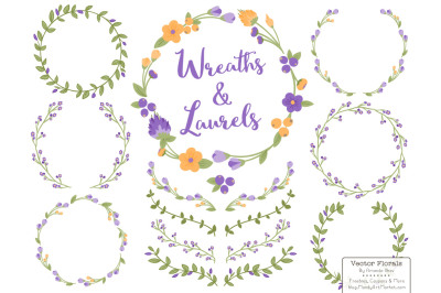 Purple and Yellow Floral Wreath & Laurels