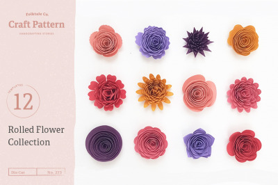Rolled Flower Templates, 3D Flowers - SVG, DXF, EPS, JPEG, PDF