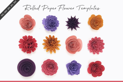 Rolled Flower Templates, 3D Flowers - SVG, DXF, EPS, JPEG, PDF
