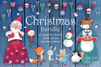 Christmas bundle. Vector cliparts and seamless patterns