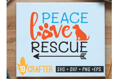 peace love rescue animal svg cut file