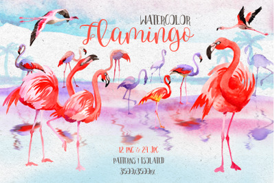 Pink Flamingo  Clipart, Watercolor Set, Hand Painted Animal