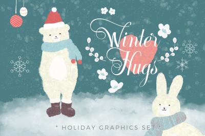 Winter Hugs - Holiday Graphics Set