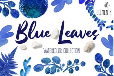 Blue Leaves Watercolor Set