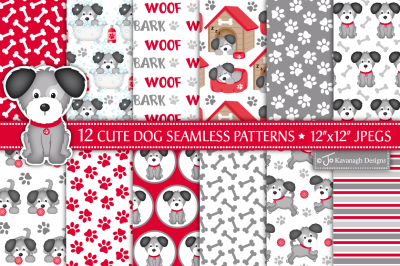 Dog digital paper, Dog patterns, Puppy dog -P42