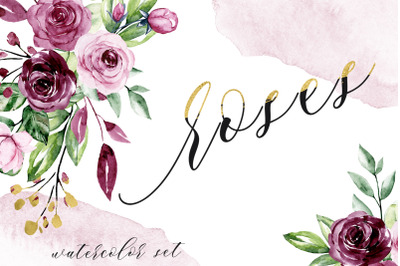 Watercolor flower set roses and leaves.