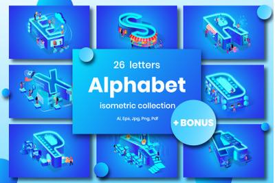 Blue Alphabet Character Isometric