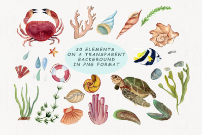 Life in the ocean. Watercolor clipart.
