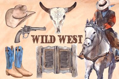 Wild West - Watercolor Clip Art Set