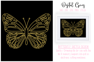 Butterfly foil quill / drawing design