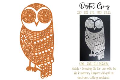 Owl foil quill design