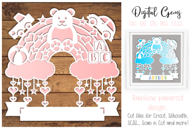 Rainbow, new baby paper cut design