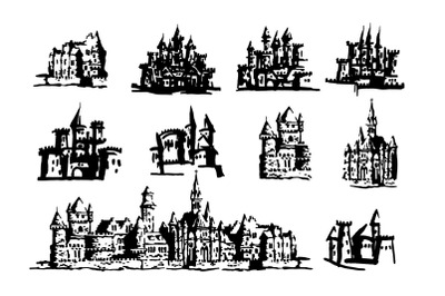 Castle hand drawn illustration set