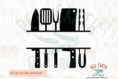 Grill split monogram frame decal, bbq split frame SVG, PNG, EPS, DXF