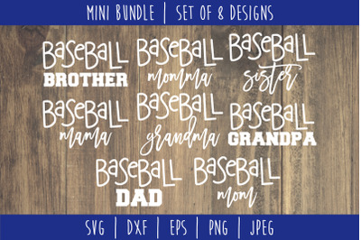 Baseball Family Mini Bundle - Set of 8 Designs SVG, DXF, EPS, PNG, JPE