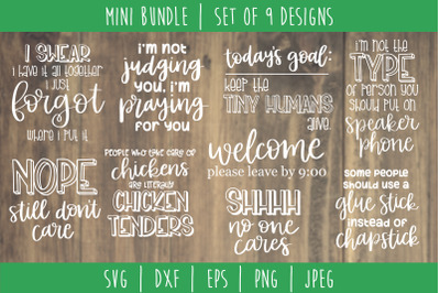 Funny Sarcastic Bundle Volume 2 - Set of 9 Designs SVG, DXF, EPS, PNG,