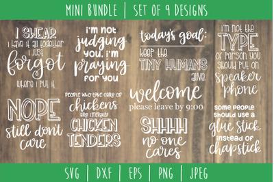 Funny Sarcastic Bundle Volume 2 - Set of 9 Designs SVG, DXF, EPS, PNG,