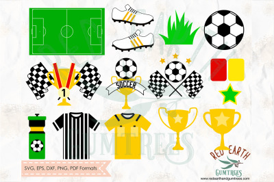 Soccer party elements bundle SVG, PNG, EPS, DXF