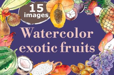 Watercolor exotic fruits