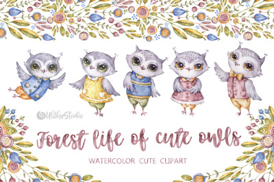 Forest life of cute owls. Watercolor wild birds clipart