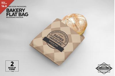 Flat Bakery Bags Packaging Mockup