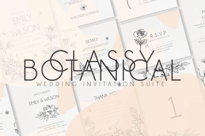 Classy botanical Wedding Invitation Suite