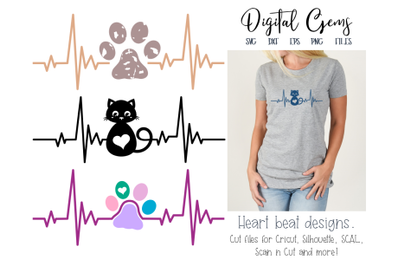 Cat and paw print heart beat designs