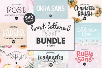 Hand Lettered Font Bundle - 8 Fonts!
