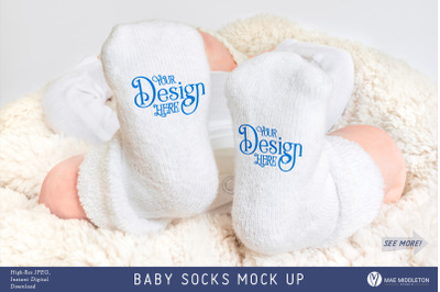 "Baby ""Talking Socks"" Mock up, styled photo"